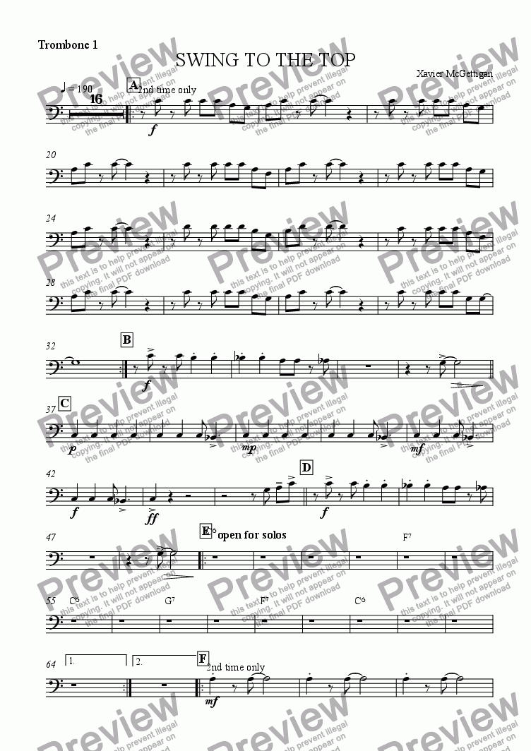 page one of the Trombone 1 part from Swing to the Top