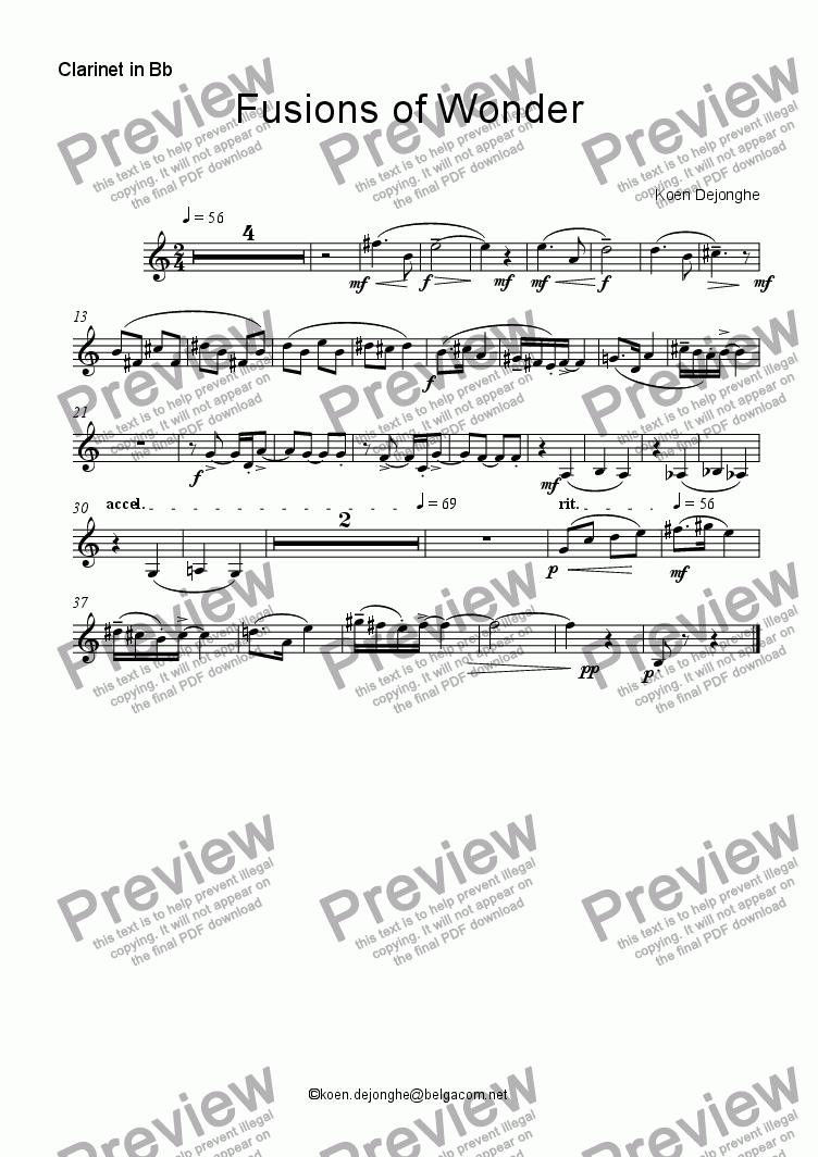 "page one of the Clarinet part from ""Fusions of Wonder"" for Clarinet, Violin and Piano"