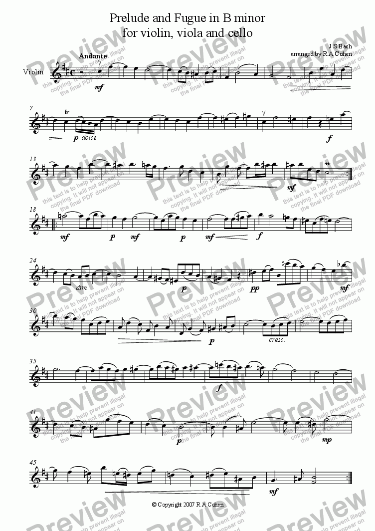 page one of the Violin part from Bach - PRELUDE and FUGUE in B minor - for string trio