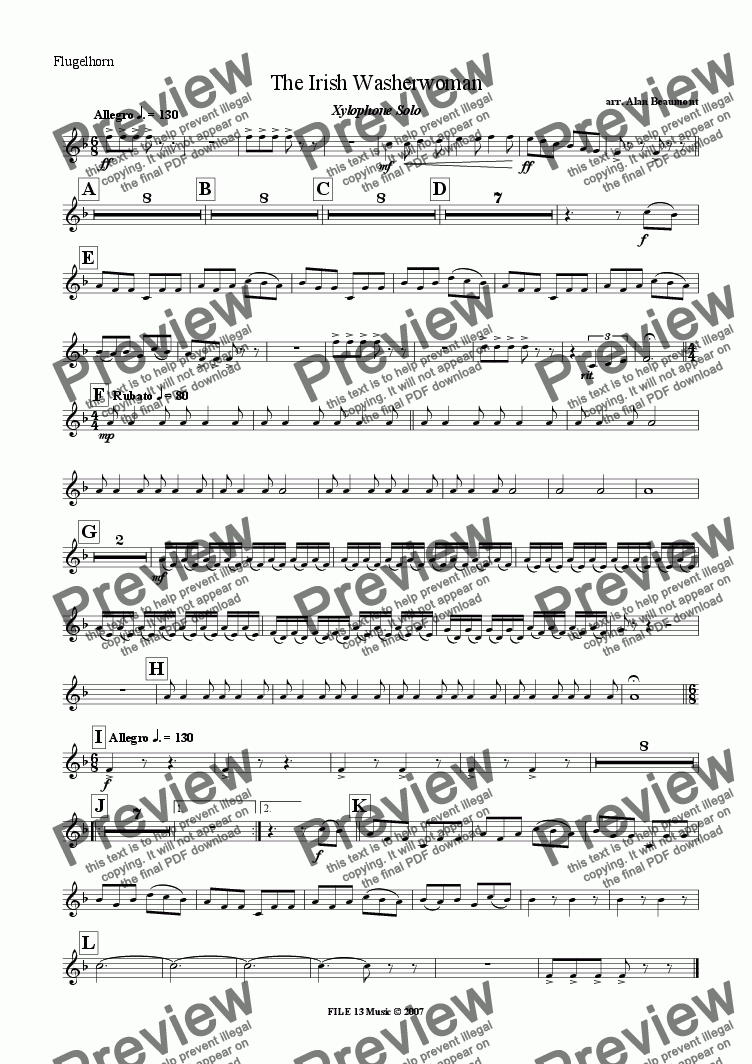 page one of the Flugel part from The Irish Washerwoman (Xylophone Solo with Brass Band)