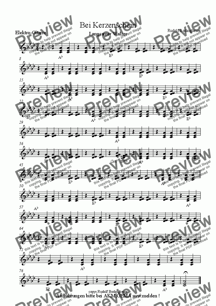 page one of the E-Gitarre part from Bei Kerzenschein Big Band