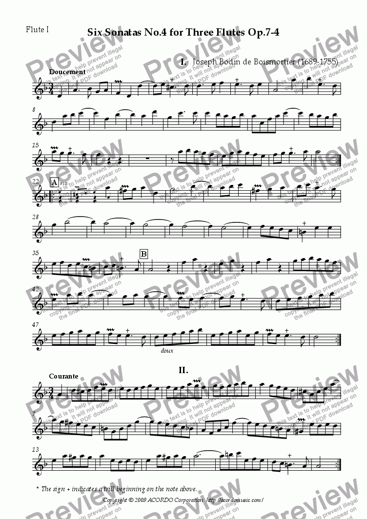 page one of the Flute I part from Six Sonatas No.4 for Three Flutes Op.7-4