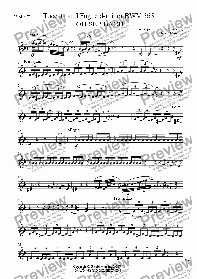 page one of the Violin II part from BACH, J.S. - Toccata & Fugue in D minor BWV 565 - arranged for String Quartet by Gerald Manning