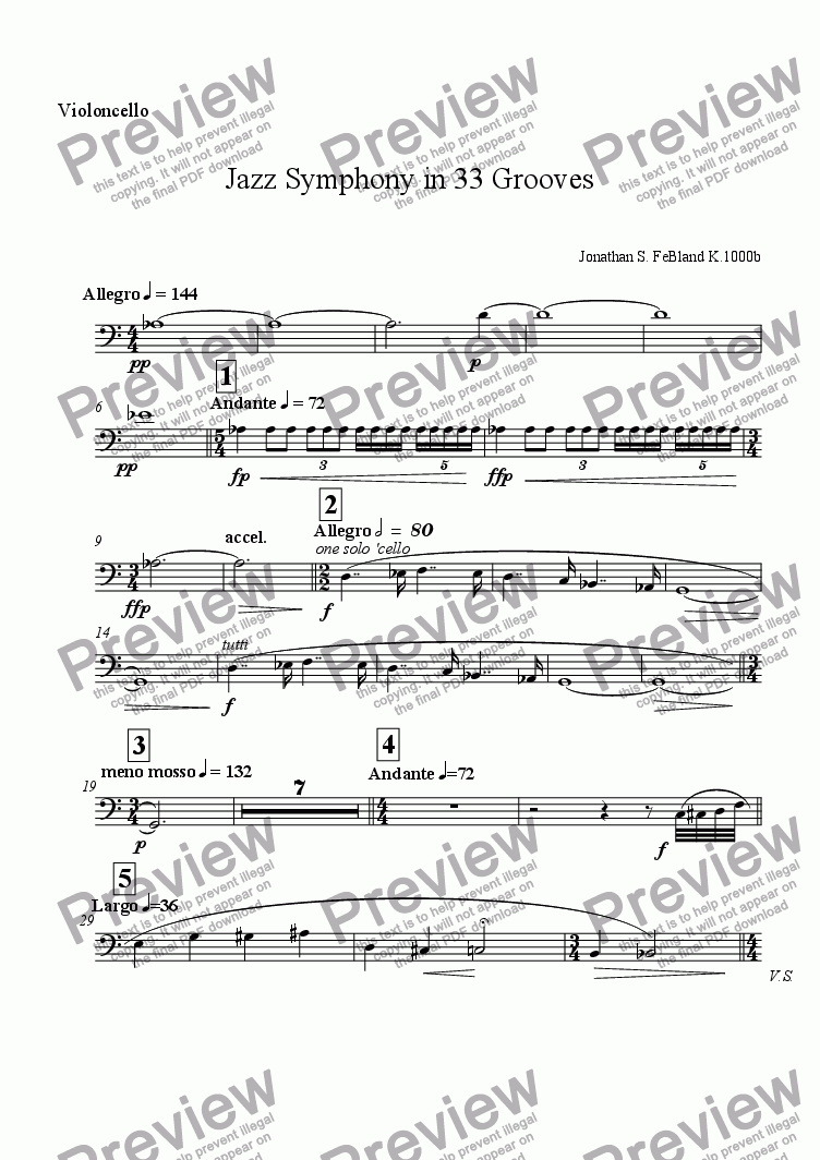 page one of the 'Cello part from Jazz Symphony in 33 Grooves