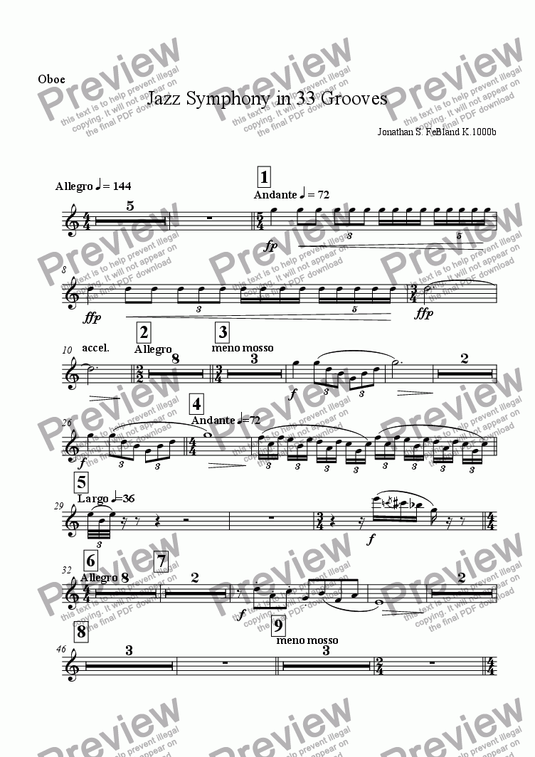 page one of the Oboe part from Jazz Symphony in 33 Grooves