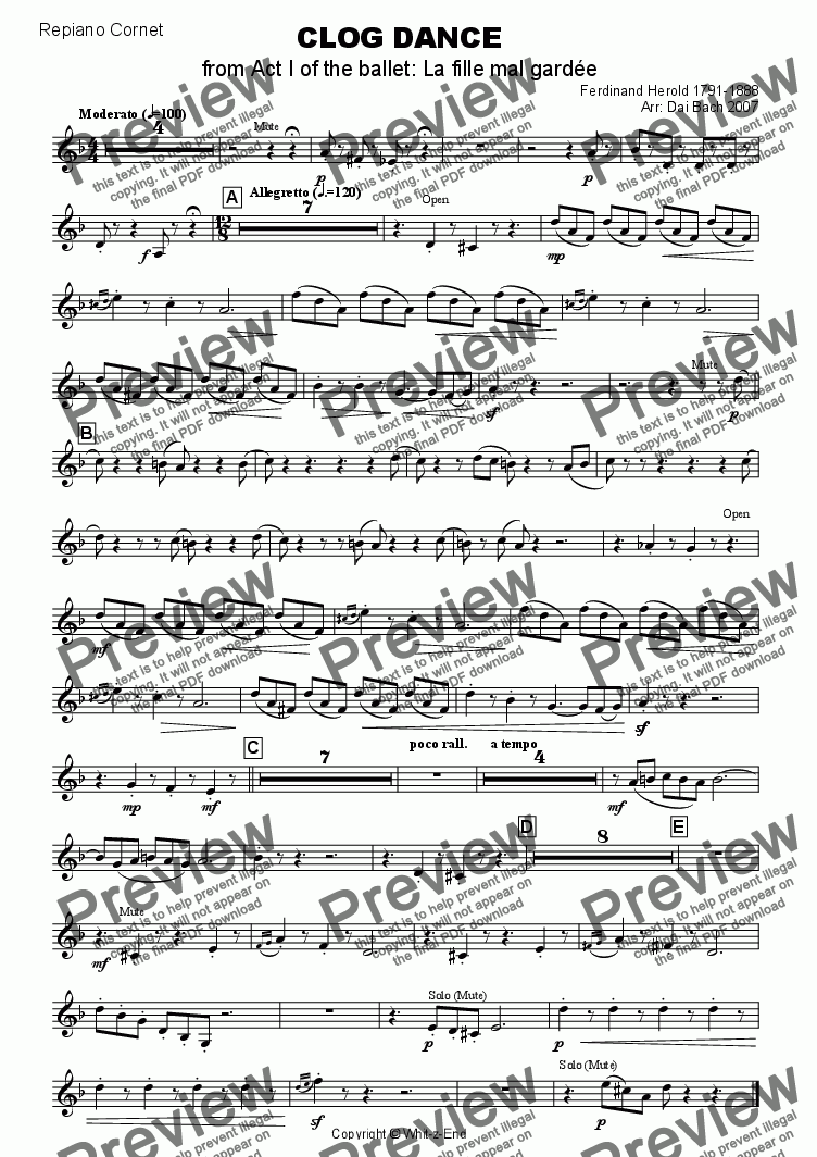 page one of the Repiano Cornet part from CLOG DANCE