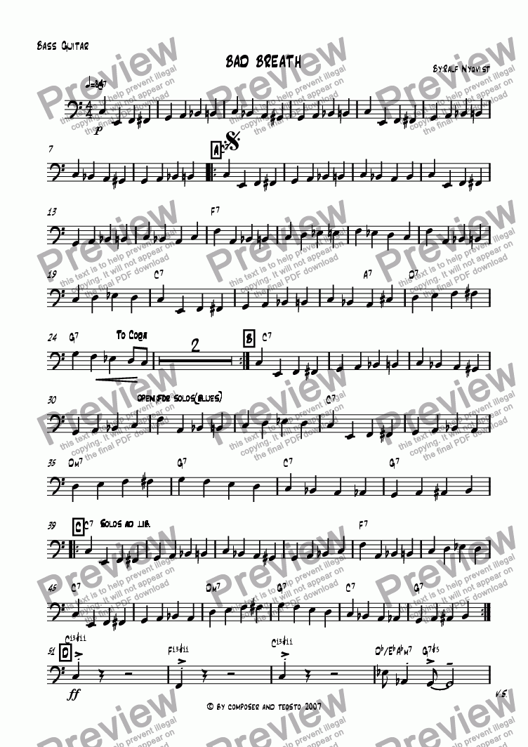 page one of the Bass part from Bad breath