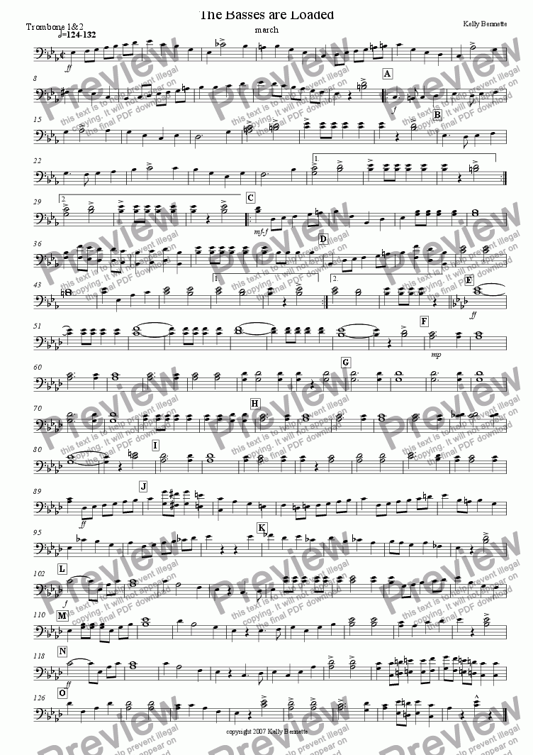 page one of the Trombone 1&2 part from The Basses are Loaded
