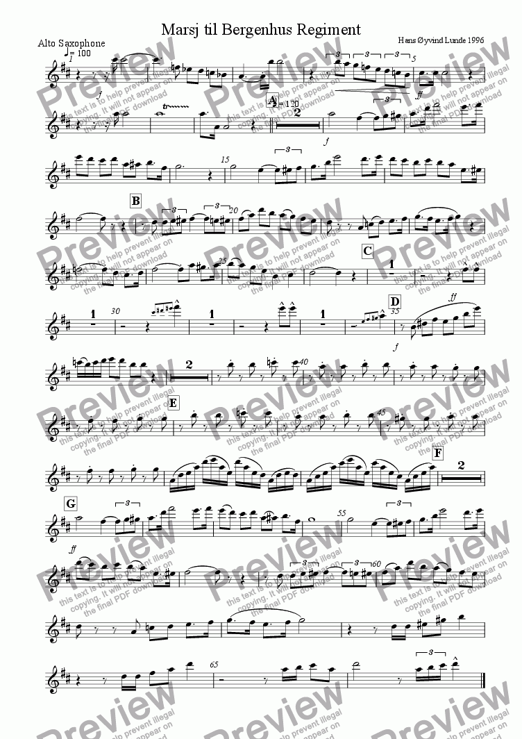 page one of the Alto sax part from Marsj til Bergenhus Regiment