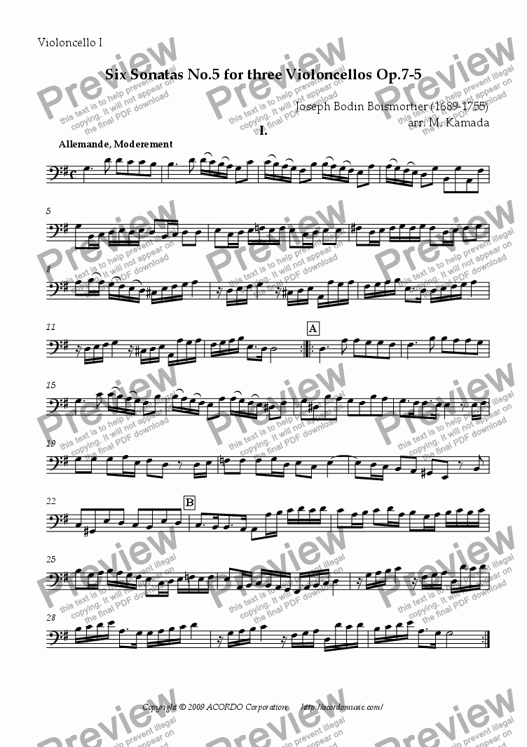 page one of the Violoncello I part from Six Sonatas No.5 for Three Violoncellos Op.7-5