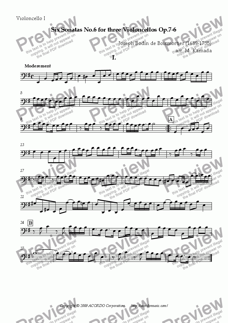 page one of the Violoncello I part from Six Sonatas No.6 for Three Violoncellos Op.7-6