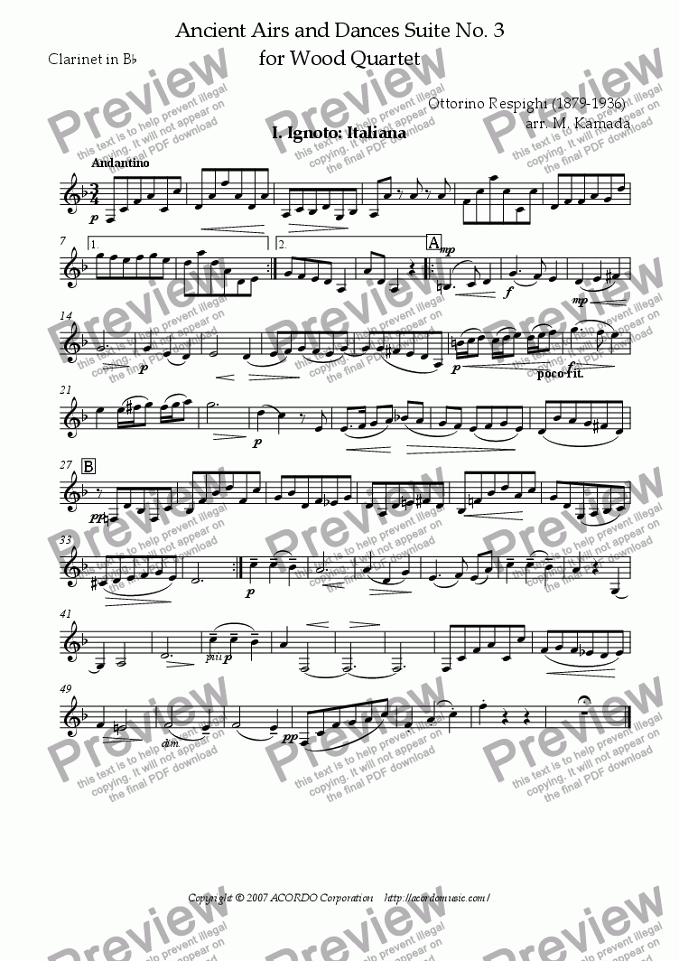 page one of the Clarinet in Bb part from Ancient Airs and Dances Suite No.3 for Wood Quartet