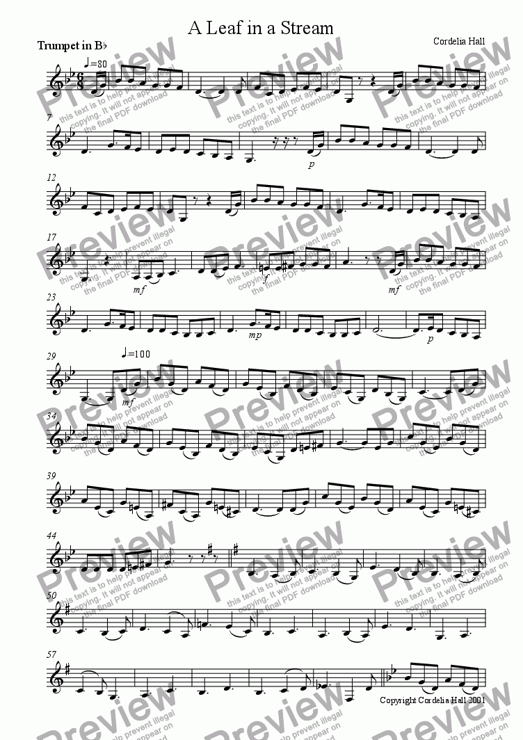 page one of the Trumpet in Bb part from A Leaf In A Stream for trumpet