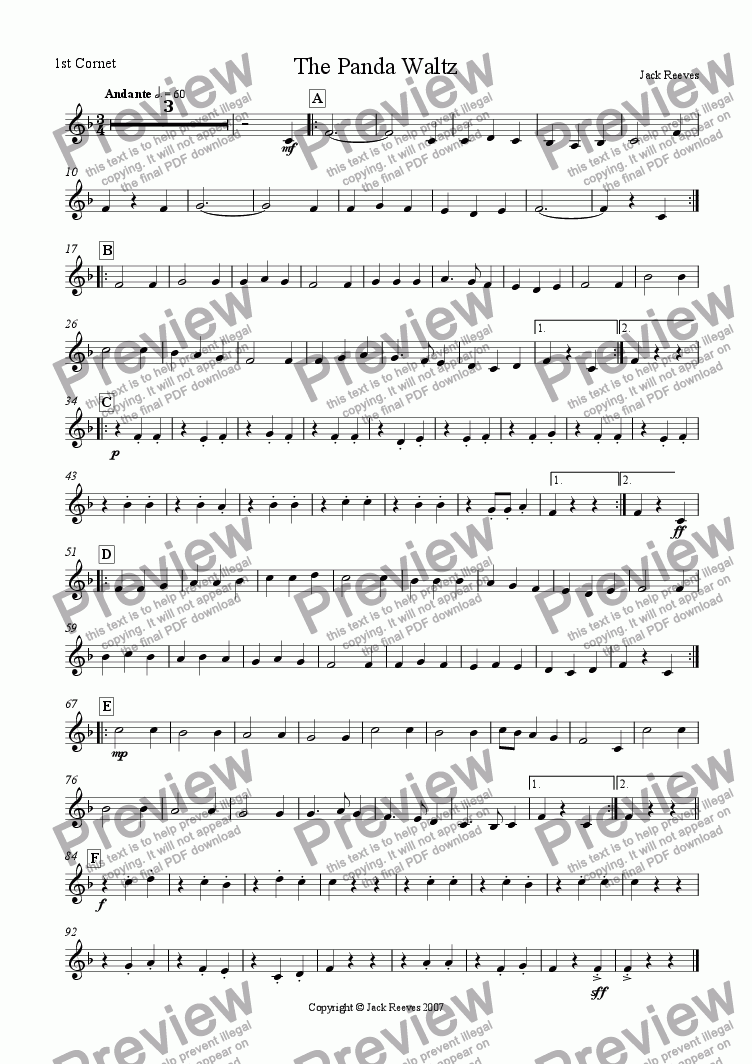 page one of the 1st Cornet part from The Panda Waltz (Junior Brass Band)