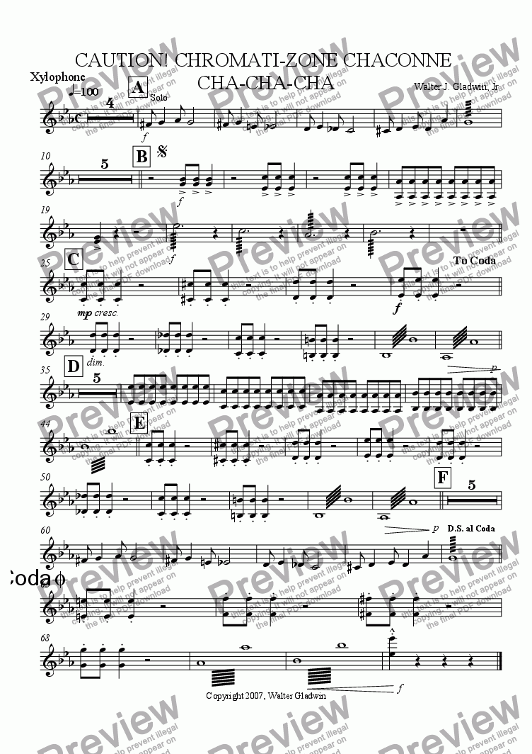 page one of the Xylophone part from Caution: Chromati-Zone Chaconne (Cha-Cha-Cha)