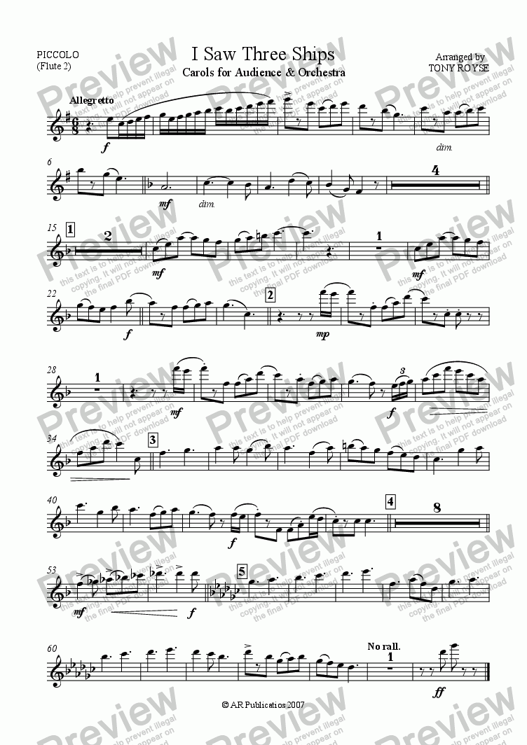 page one of the Piccolo (Flute 2) part from I Saw Three Ships