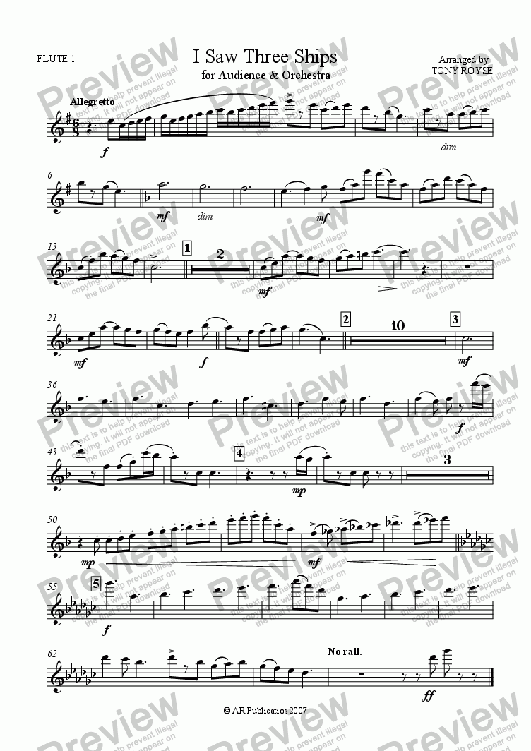 page one of the Flute 1 part from I Saw Three Ships