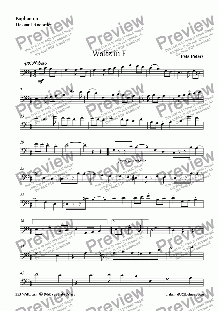 page one of the |Euphonium part from Waltz in F  [Now in C for Euphonium + Piano]