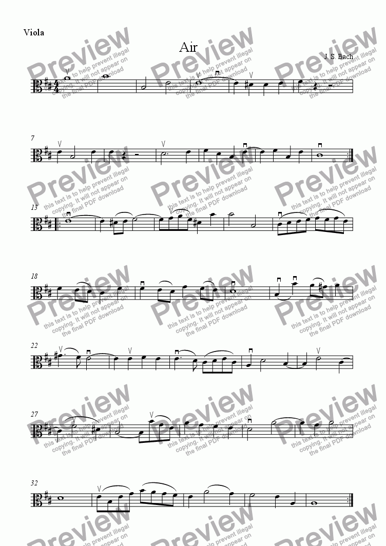 page one of the viola part from Air on the G string
