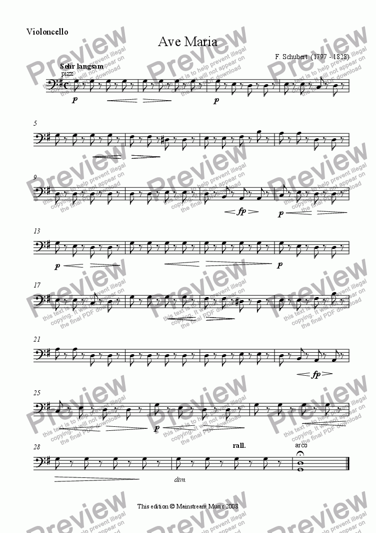 page one of the Cello part from Ave Maria - String Quartet