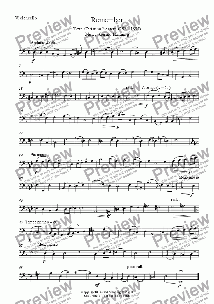 page one of the Violoncello part from English Song: Remember, Op.16 - Manning, G. - for Soprano & String Quartet