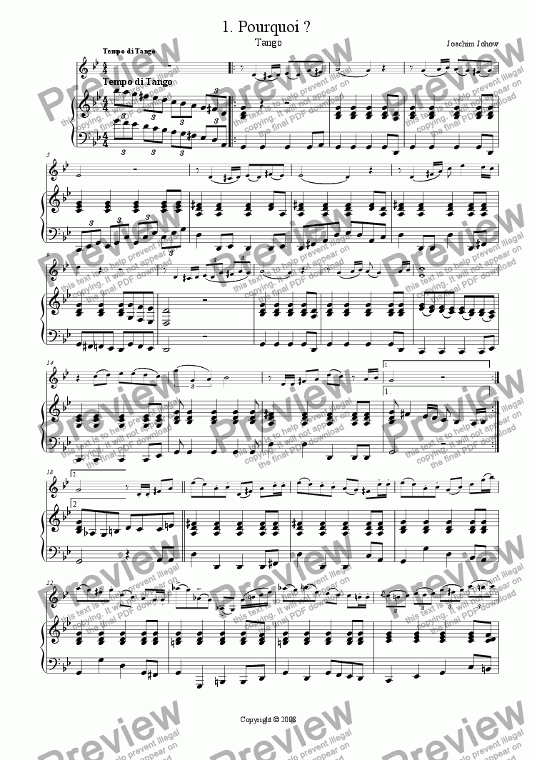 page one of the Piano Vl part from Tango 01 (Pourquoi ?)