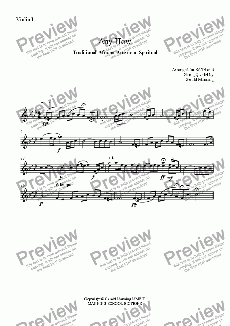page one of the Violin I part from African-American Spirituals - Any How - Arranged for SATB and String Quartet by Gerald Manning