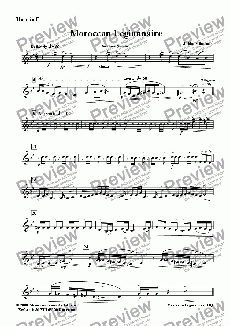 page one of the Horn in F part from Moroccan Legionnaire (Brass Quintet)
