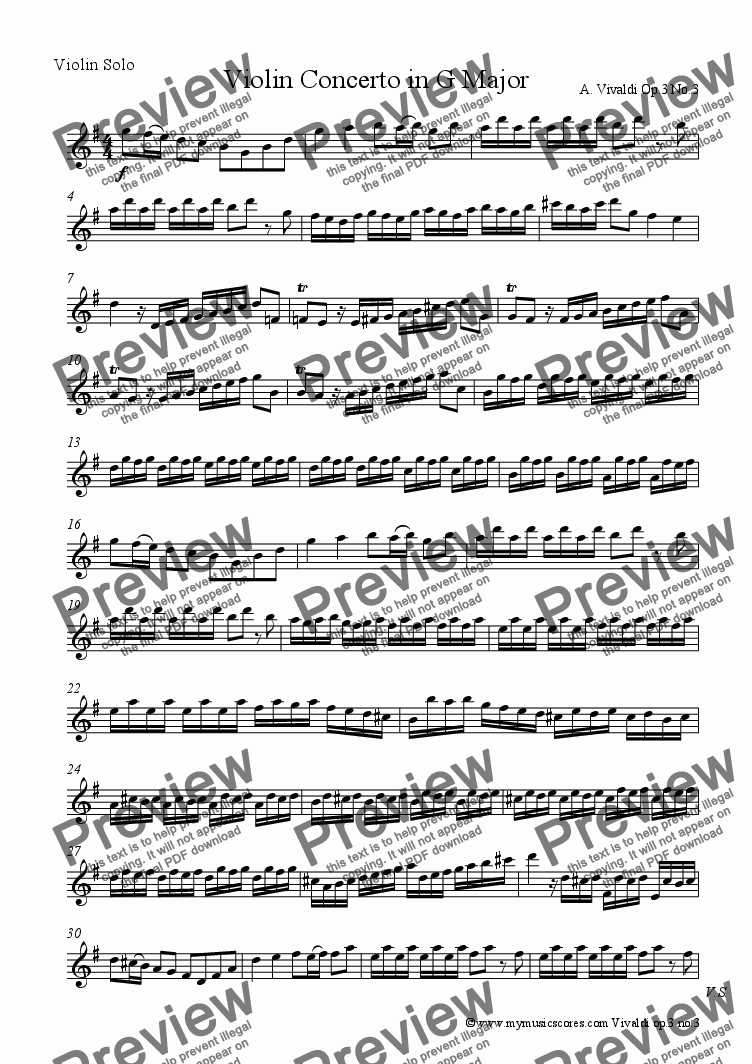 page one of the Solo Violin part from Vivaldi Concerto for Solo Violin in G major Op.3 No.3