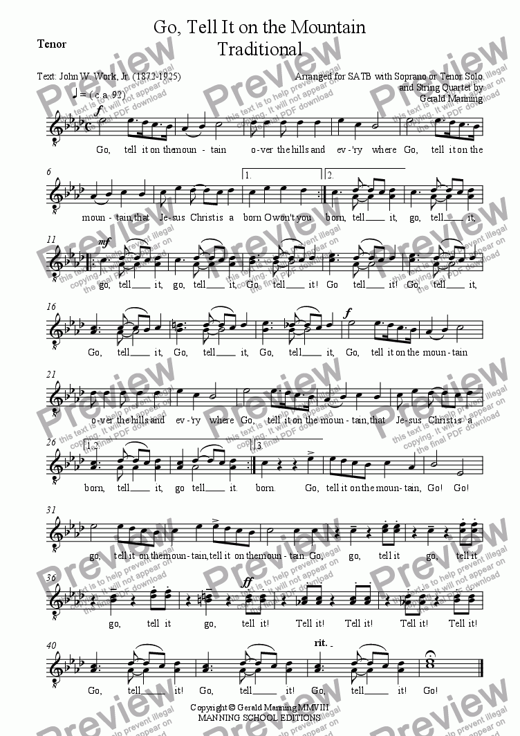 page one of the Tenor part from African- American Spirituals -Go, Tell It on the Mountain - Arranged for SATB with Soprano or Tenor Solo and String Quartet by Gerald Manning