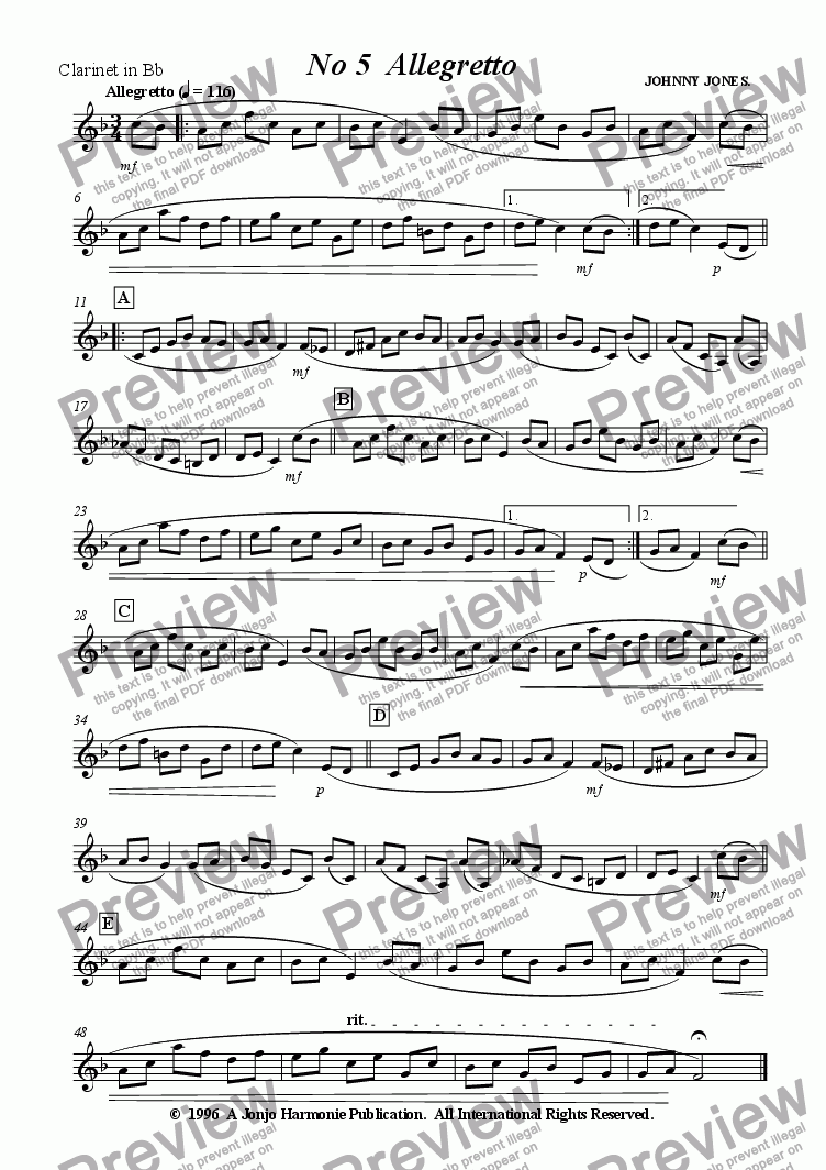 page one of the Clarinet in Bb part from Petite Suite for Clarinet   No 5  Allegretto