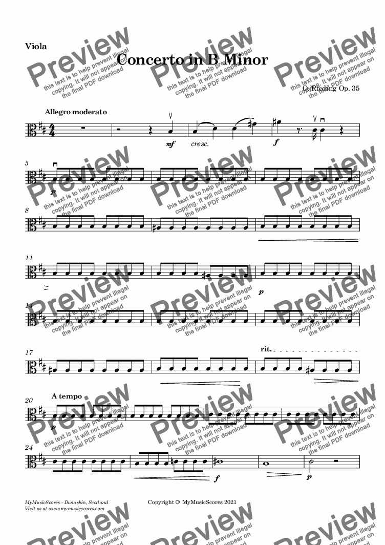 page one of the Viola part from Rieding Violin Concerto in B Minor Op.35 for Violin and String Orchestra