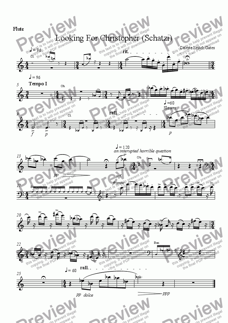 page one of the Flute part from Megan Falls Asleep (from Enchanted Moments) for Woodwind Quintet