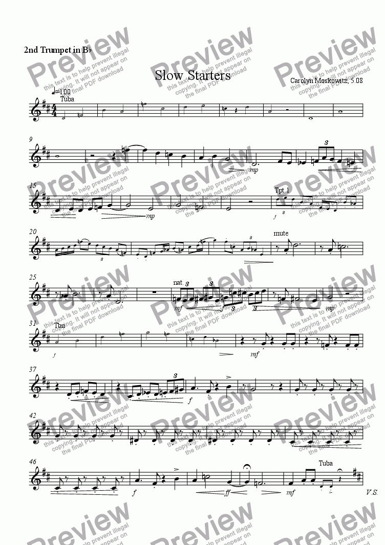 page one of the Trumpet 2 part from Slow Starters