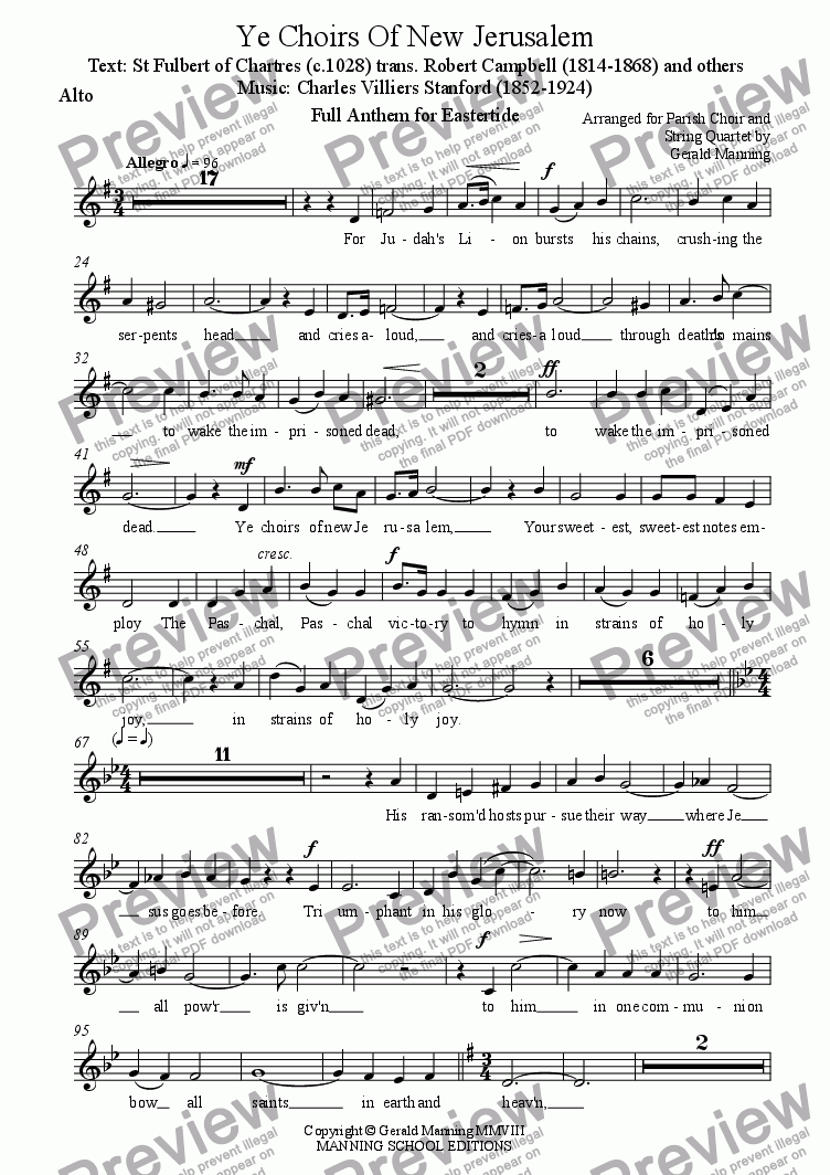 page one of the Alto part from Anthems For All Occasions - Ye Choirs Of New Jerusalem - Full Anthem For Eastertide - Stanford, C.V. - Arranged for Parish Choir and String Quartet by Gerald Manning
