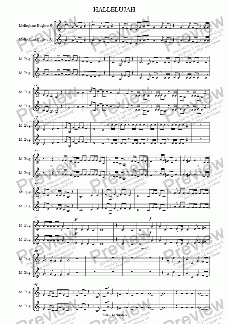 page one of the Mellophone part from Hallelujah