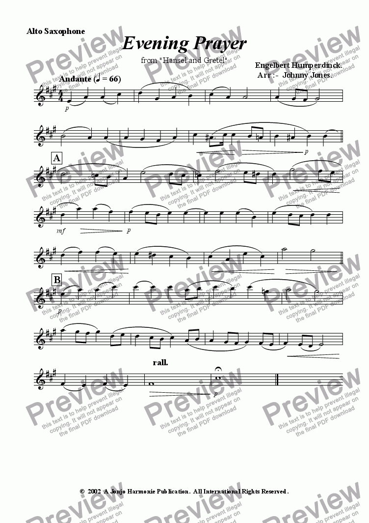 "page one of the Alto Saxophone part from Evening Prayer  from  ""Hansel and Gretel"""