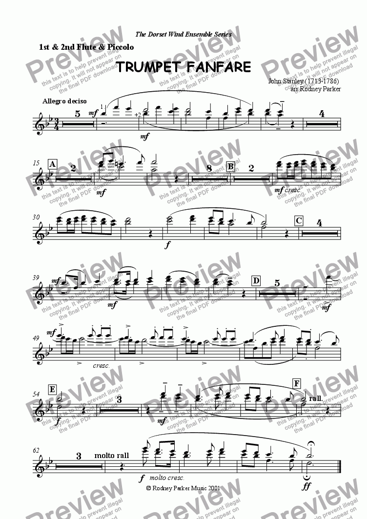 page one of the Flute & Piccolo part from Trumpet Fanfare