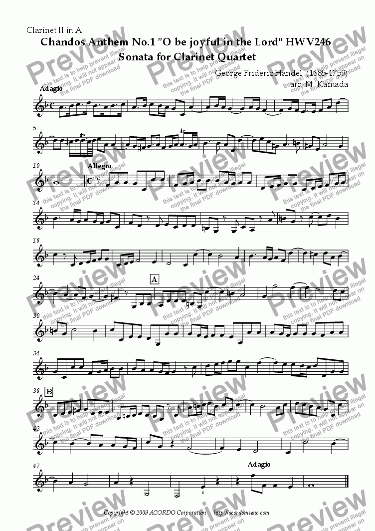 "page one of the Clarinet II in A part from Chandos Anthem No.1 ""O be joyful in the Lord"" HWV246 Sonata for Clarinet Quartet"