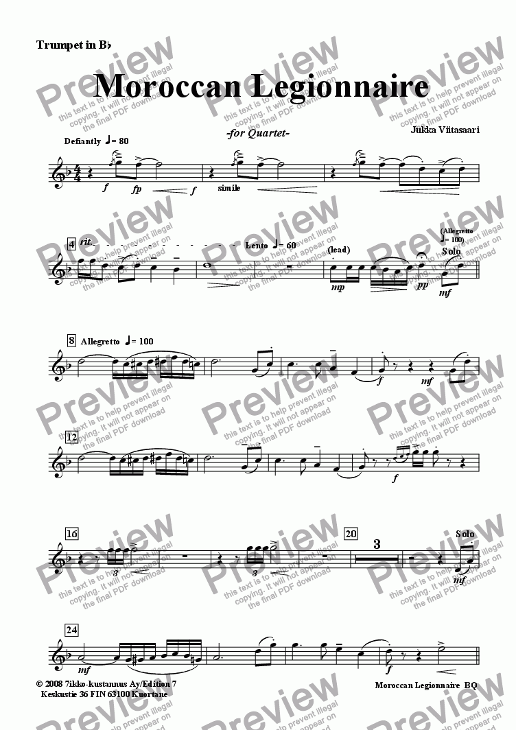 page one of the Trumpet in Bb part from Moroccan Legionnaire (Tpt./FH/Tbn./Pno)