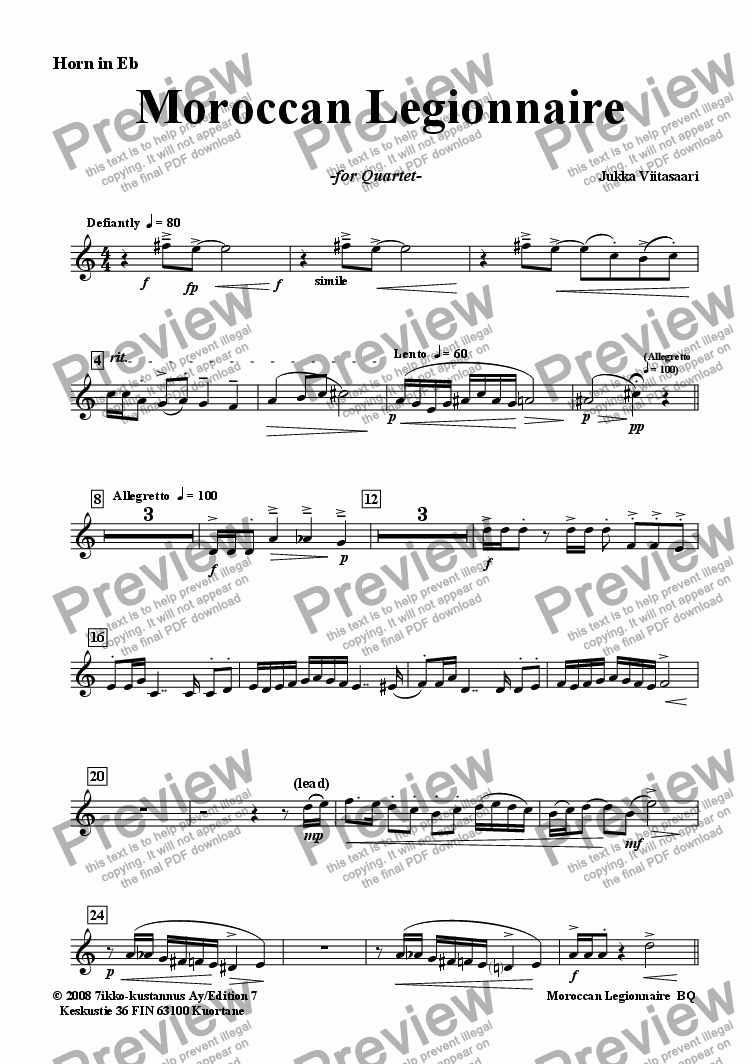 page one of the Horn in Eb part from Moroccan Legionnaire (Tpt./FH/Tbn./Pno)