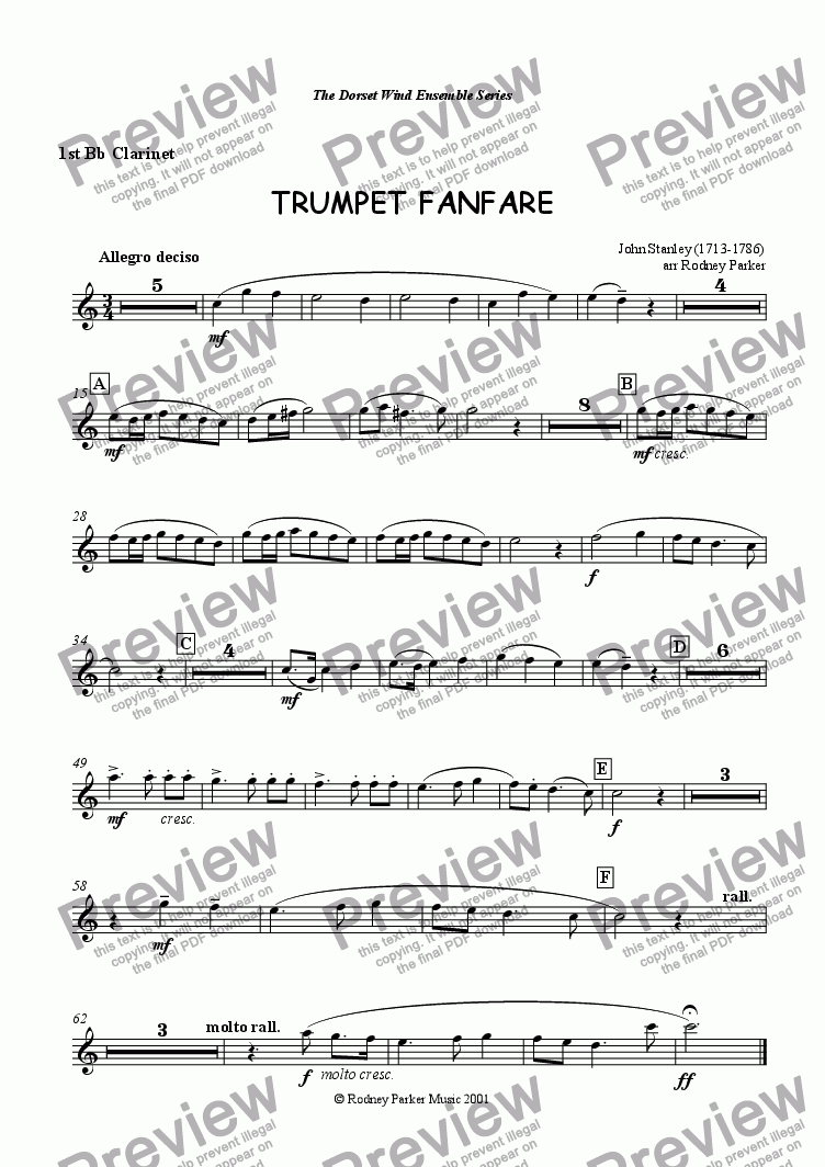 page one of the 1st Clarinet part from Trumpet Fanfare