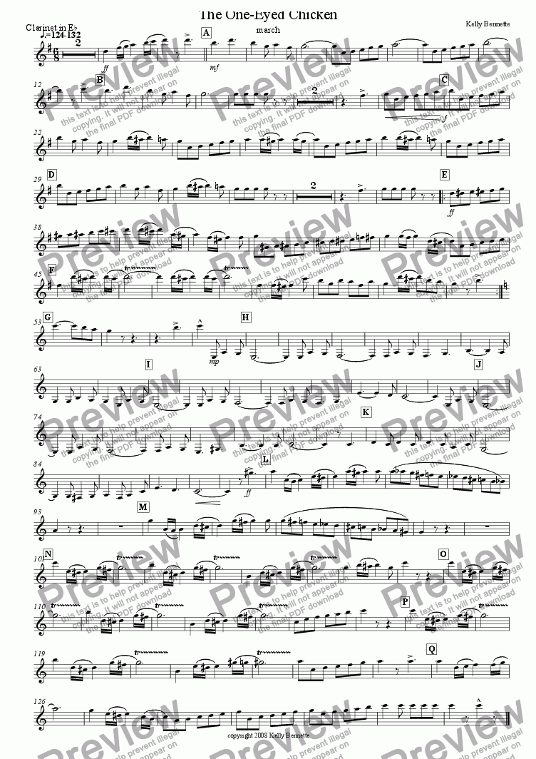 page one of the Eb clarinet part from The One-Eyed Chicken march