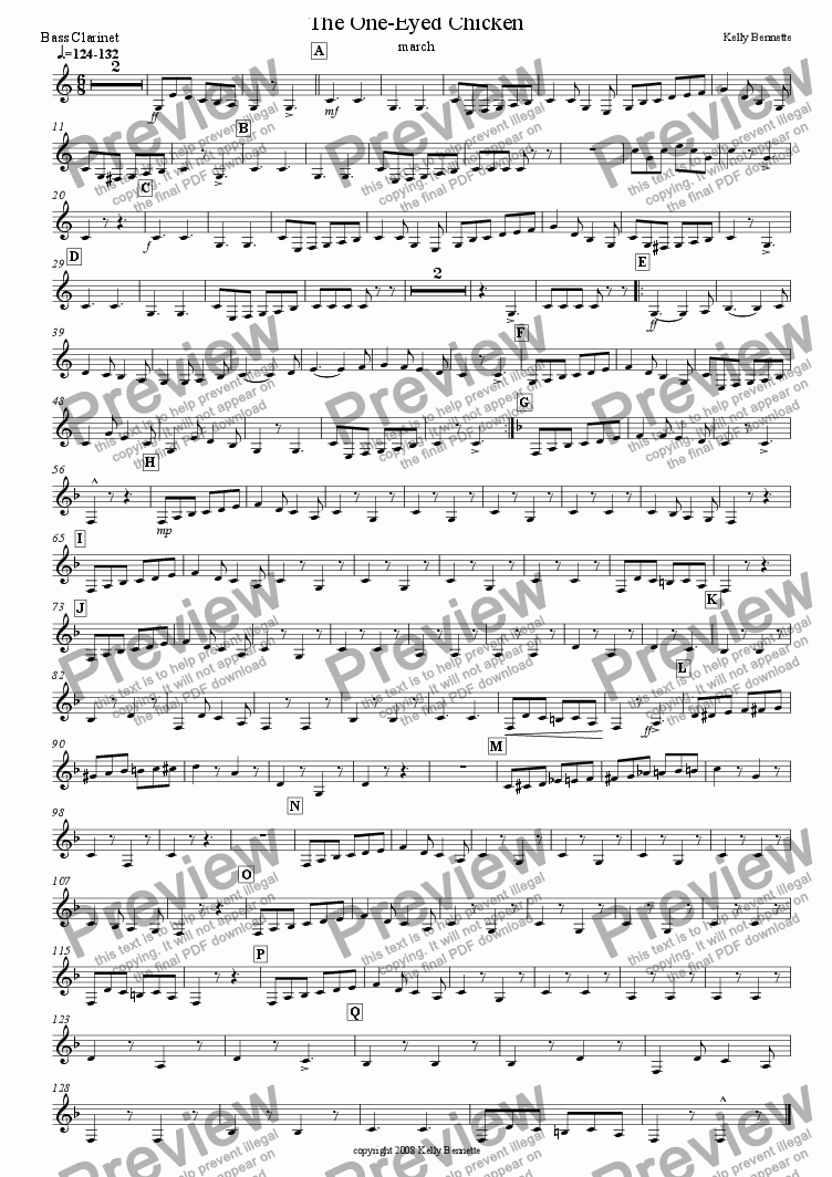 page one of the bass clarinet part from The One-Eyed Chicken march