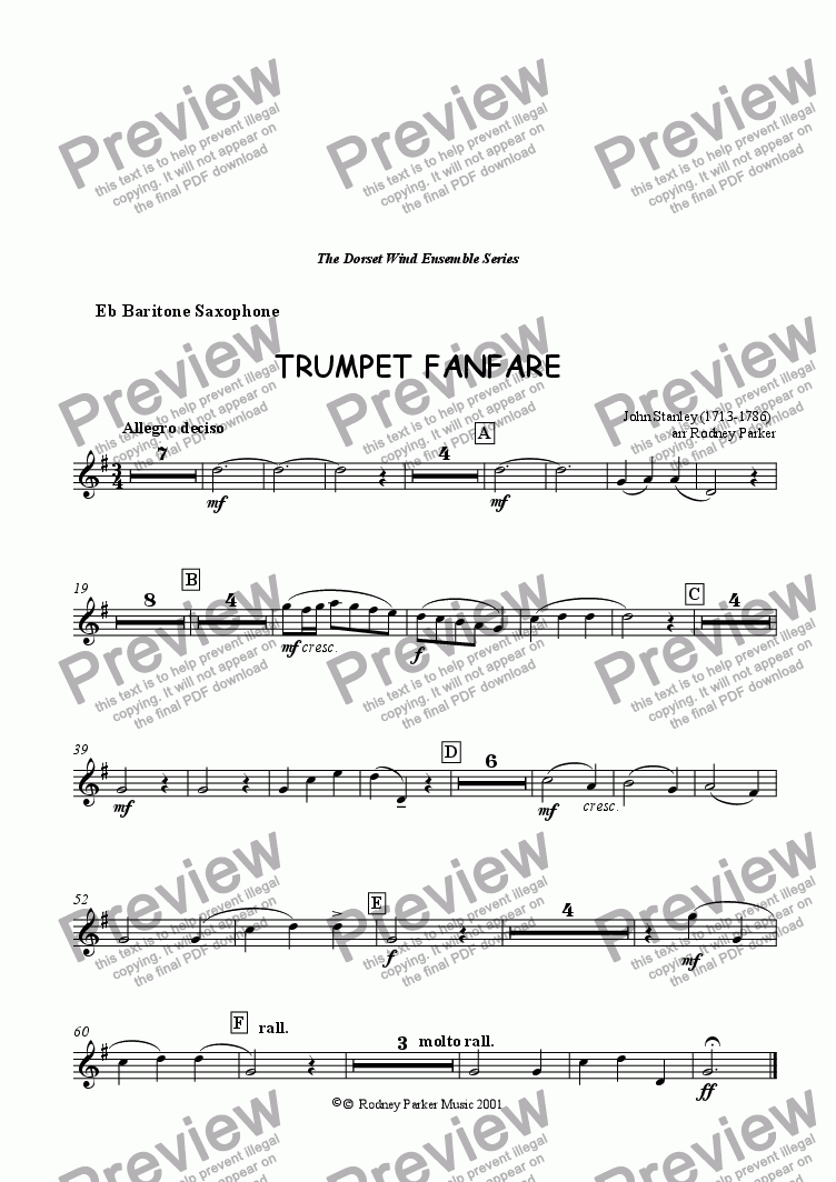 page one of the Baritone Saxophone part from Trumpet Fanfare