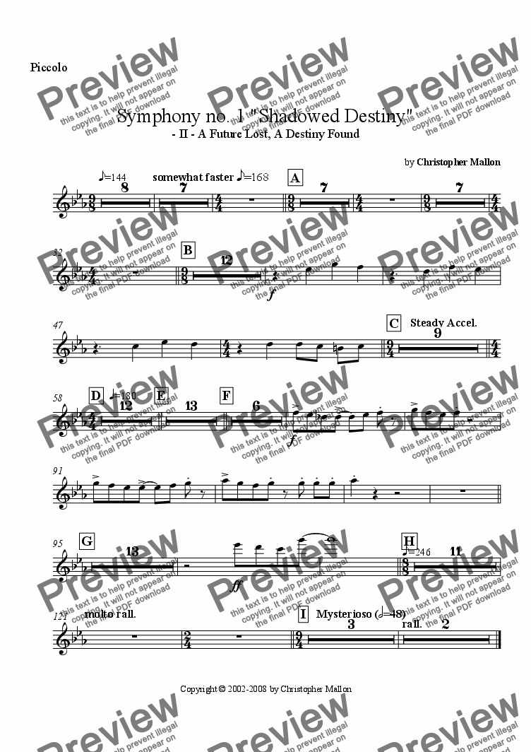 "page one of the Piccolo part from ""Shadowed Destiny"" - Symphony no. 1 - II"