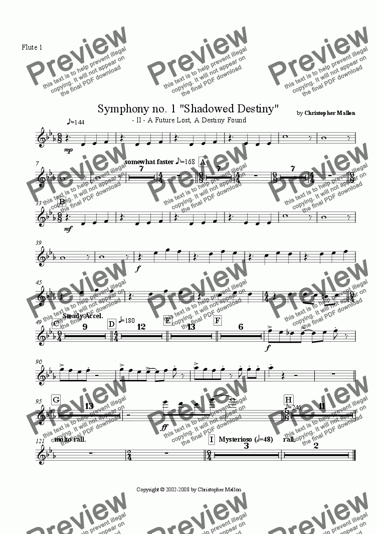"page one of the Flute 1 part from ""Shadowed Destiny"" - Symphony no. 1 - II"