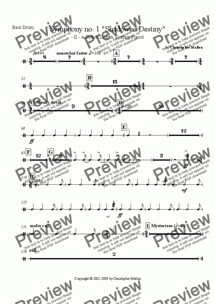 "page one of the Bass Drum part from ""Shadowed Destiny"" - Symphony no. 1 - II"