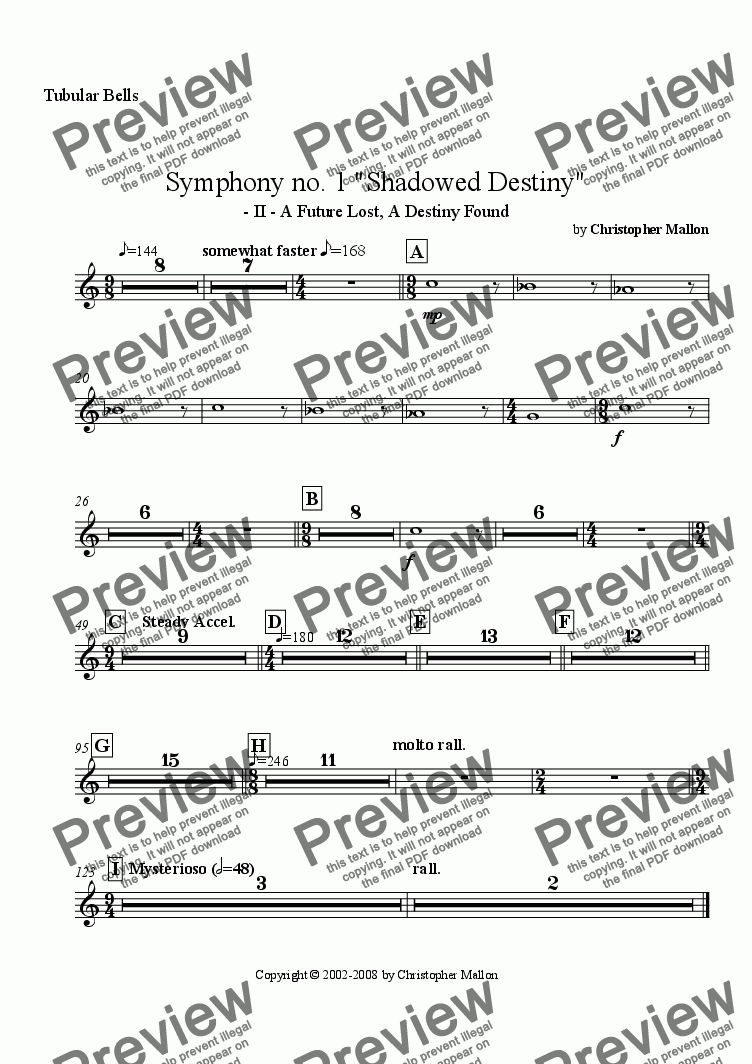 "page one of the Tubular Bells part from ""Shadowed Destiny"" - Symphony no. 1 - II"