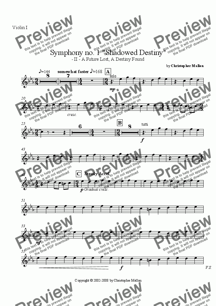 "page one of the Violin I part from ""Shadowed Destiny"" - Symphony no. 1 - II"